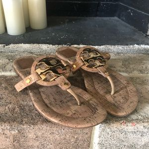 Tory Burch Cork and Gold Sandals- Size 10